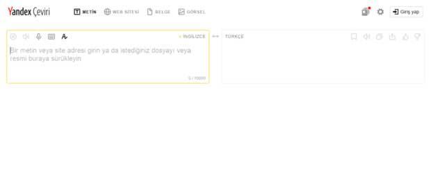 Yandex İngilizce Çeviri